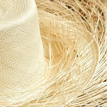 Partially woven panama hat