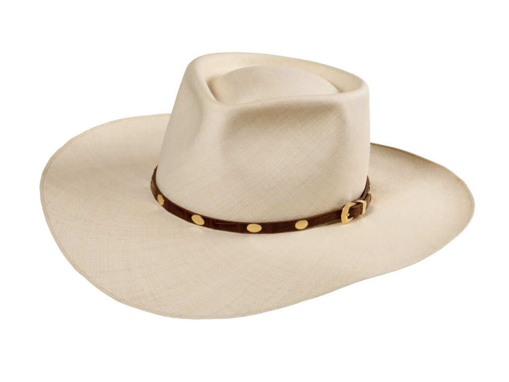 Panama Straw Hat with Gold and Leather Hat Band