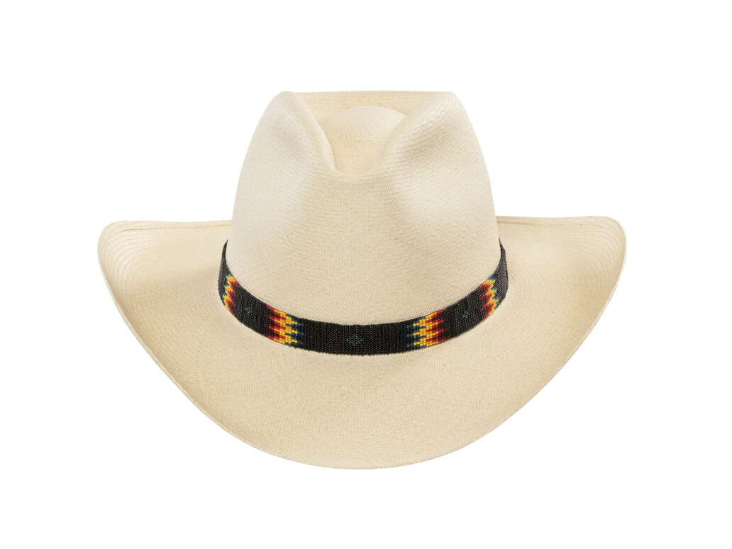 Low RCA Panama Hat with beaded band in black, yellow, red, and green.
